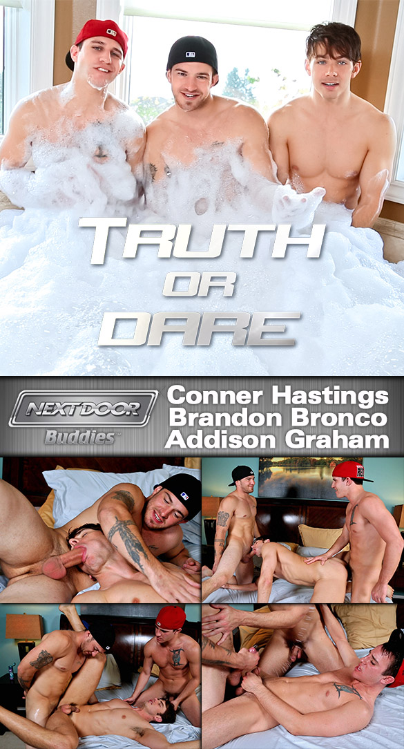 "Next Door Buddies: Addison Graham gets fucked by Brandon Bronco and Conner Hastings in ""Truth or Dare"""