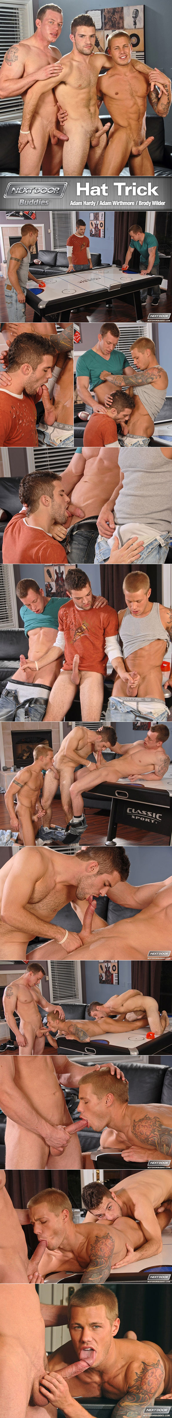 "Next Door Studios: Adam Wirthmore, Brody Wilder and Adam Hardy fuck each other in ""Hat Trick"""
