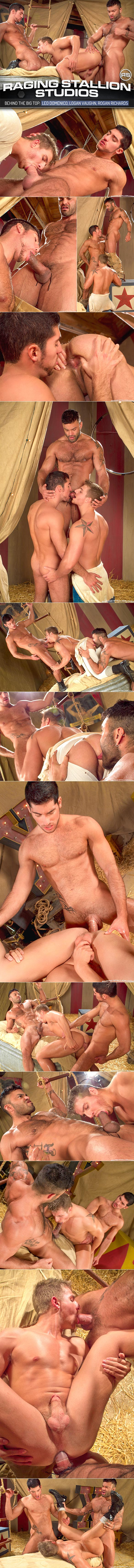 "Raging Stallion: Leo Domenico and Rogan Richards bang Logan Vaughn in ""Behind The Big Top"""